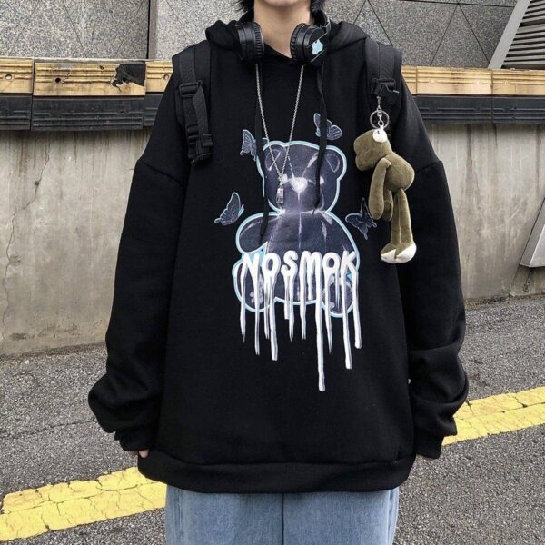 No Smoke Bear Oversized Hoodie 2- Orezoria Aesthetic Outfits Shop - Aesthetic Clothing - eGirl Outfits - Soft Girl Outfits