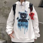 No Smoke Bear Oversized Hoodie 3- Orezoria Aesthetic Outfits Shop - Aesthetic Clothing - eGirl Outfits - Soft Girl Outfits