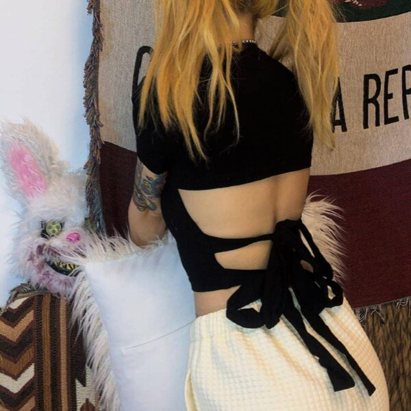Open Back Bow Black Crop Top 1- Orezoria Aesthetic Outfits Shop - Aesthetic Clothing - eGirl Outfits - Soft Girl Outfits