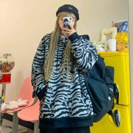 Oversized Zebra Pattern Hoodie 4- Orezoria Aesthetic Outfits Shop - Aesthetic Clothing - eGirl Outfits - Soft Girl Outfits
