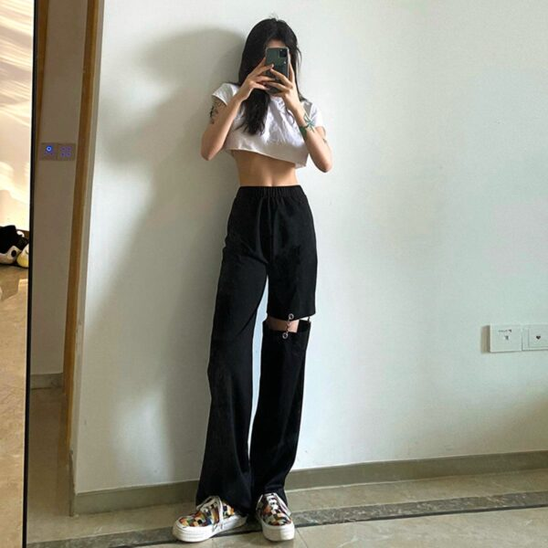 Pierced Legging Grunge Aesthetic Pants 3- Orezoria Aesthetic Outfits Shop - Aesthetic Clothing - eGirl Outfits - Soft Girl Outfits