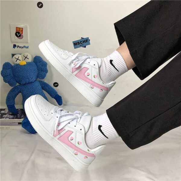 Pink Line Strawberry Sneakers Soft Girl Aesthetic 1- Orezoria Aesthetic Outfits Shop - eGirl Outfits - Soft Girl Outfits