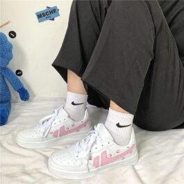 Pink Line Strawberry Sneakers Soft Girl Aesthetic 2- Orezoria Aesthetic Outfits Shop - eGirl Outfits - Soft Girl Outfits