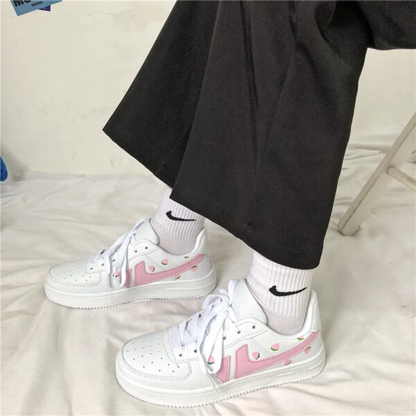 Pink Line Strawberry Sneakers Soft Girl Aesthetic 3- Orezoria Aesthetic Outfits Shop - eGirl Outfits - Soft Girl Outfits