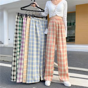 Plaid Grid Straight Loose Soft Girl Pants 1- Orezoria Aesthetic Outfits Shop - eGirl Outfits - Soft Girl Outfits