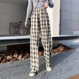 Plaid Grid Straight Loose Soft Girl Pants 2- Orezoria Aesthetic Outfits Shop - eGirl Outfits - Soft Girl Outfits