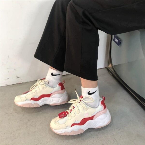 Red Tide Beige Base Retro 90s Aesthetic Sneakers 1- Orezoria Aesthetic Outfits Shop - eGirl Outfits - Soft Girl Outfits