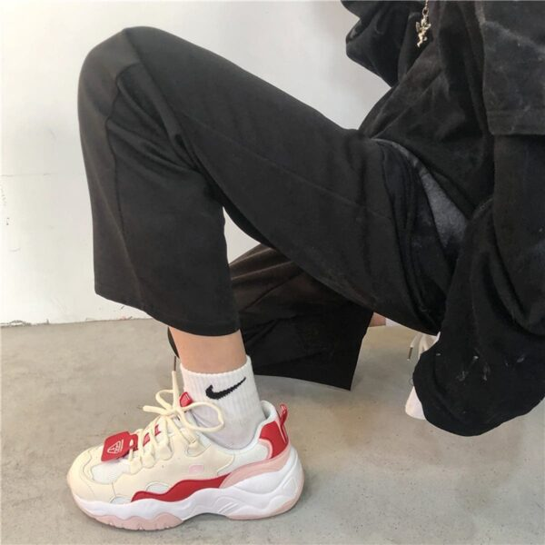 Red Tide Beige Base Retro 90s Aesthetic Sneakers 3- Orezoria Aesthetic Outfits Shop - eGirl Outfits - Soft Girl Outfits