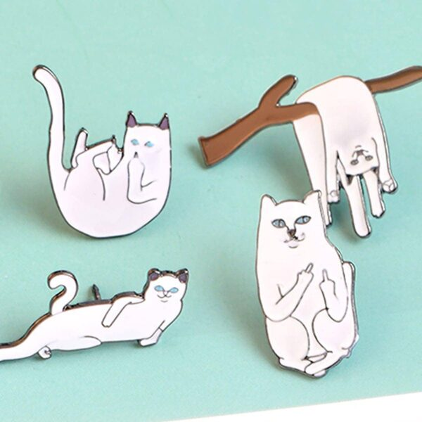 Ripndip Lord Nermal Cat Falling Enamel Pin Brooch 2- Orezoria Aesthetic Outfits Shop - eGirl Outfits - Soft Girl Outfits