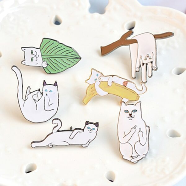 Ripndip Lord Nermal Cat Hello Stranger Enamel Pin 4- Orezoria Aesthetic Outfits Shop - eGirl Outfits - Soft Girl Outfits