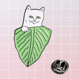 Ripndip Lord Nermal Cat Leaf Enamel Pin Brooch 1- Orezoria Aesthetic Outfits Shop - eGirl Outfits - Soft Girl Outfits