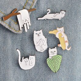 Ripndip Lord Nermal Cat Leaf Enamel Pin Brooch 2- Orezoria Aesthetic Outfits Shop - eGirl Outfits - Soft Girl Outfits