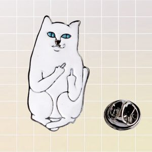 Ripndip Lord Nermal Middle Finger Cat Enamel Pin 1- Orezoria Aesthetic Outfits Shop - eGirl Outfits - Soft Girl Outfits