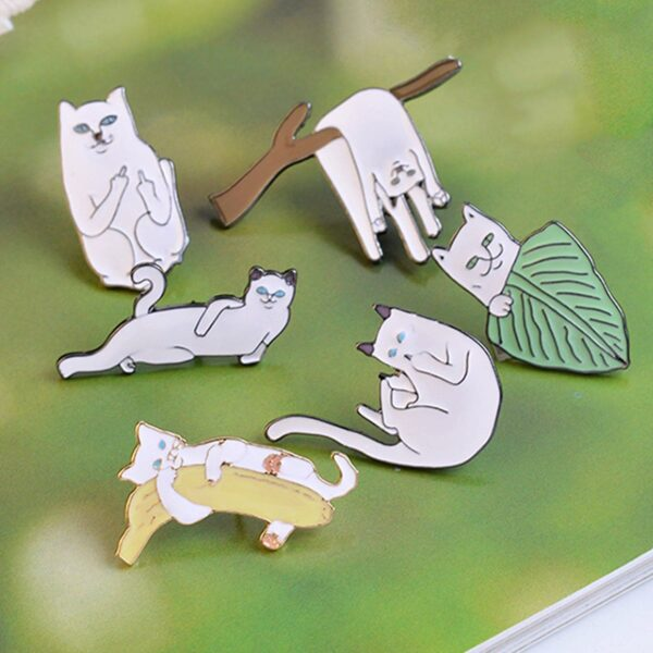 Ripndip Lord Nermal Middle Finger Cat Enamel Pin 2- Orezoria Aesthetic Outfits Shop - eGirl Outfits - Soft Girl Outfits