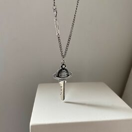 Saturn Rod Universe Key Pendant Necklace 2- Orezoria Aesthetic Outfits Shop - eGirl Outfits - Soft Girl Outfit