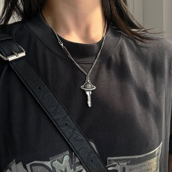 Saturn Rod Universe Key Pendant Necklace 3- Orezoria Aesthetic Outfits Shop - eGirl Outfits - Soft Girl Outfit