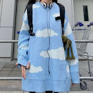 Sky Clouds Loose Knitted Soft Girl Sweater 1- Orezoria Aesthetic Outfits Shop - eGirl Outfits - Soft Girl Outfits