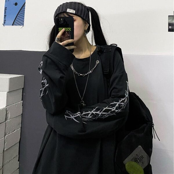 Sleeve Thorns Grunge Aesthetic Top 1- Orezoria Aesthetic Outfits Shop - Aesthetic Clothing - eGirl Outfits - Soft Girl Outfits
