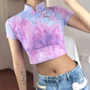 Soft Girl Pastel Pink Tie Dye Cheongsam Crop Top 1- Orezoria Aesthetic Outfits Shop - eGirl Outfits - Soft Girl Outfits