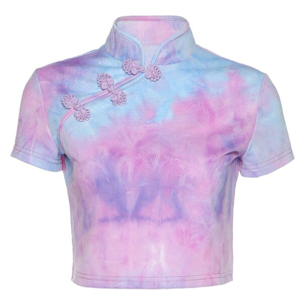Soft Girl Pastel Pink Tie Dye Cheongasm Crop Top 4- Orezoria Aesthetic Outfits Shop - eGirl Outfits - Soft Girl Outfits