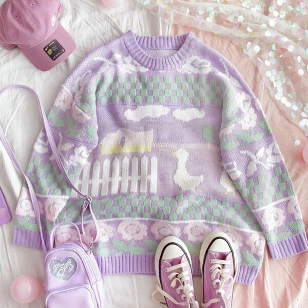 Soft Pastel Duck Sweater Cute Aesthetic 1- Orezoria Aesthetic Outfits Shop - Aesthetic Clothing - eGirl Outfits - Soft Girl Outfits (1)