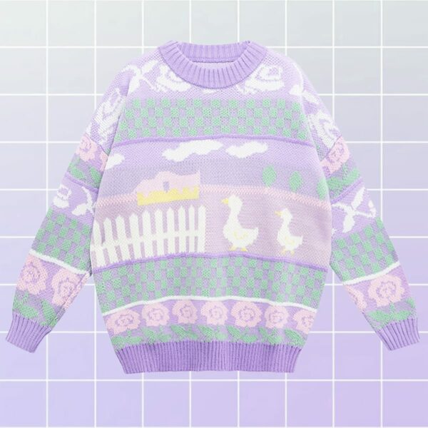 Soft Pastel Duck Sweater Cute Aesthetic 1- Orezoria Aesthetic Outfits Shop - Aesthetic Clothing - eGirl Outfits - Soft Girl Outfits (2)