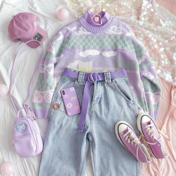 Soft Pastel Duck Sweater Cute Aesthetic 1- Orezoria Aesthetic Outfits Shop - Aesthetic Clothing - eGirl Outfits - Soft Girl Outfits (3)