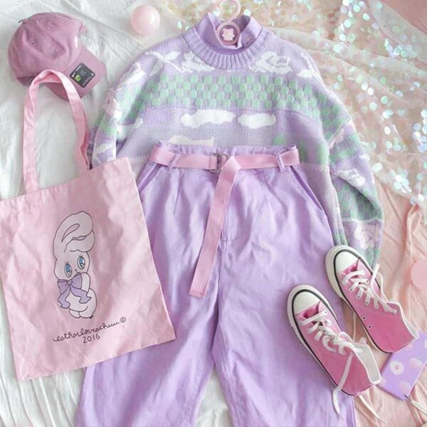 Soft Pastel Duck Sweater Cute Aesthetic 1- Orezoria Aesthetic Outfits Shop - Aesthetic Clothing - eGirl Outfits - Soft Girl Outfits (4)