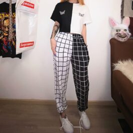 Split Color Checkered Grid High Waist EGirl Pants 1- Orezoria Aesthetic Outfits Shop - eGirl Outfits - Soft Girl Outfits