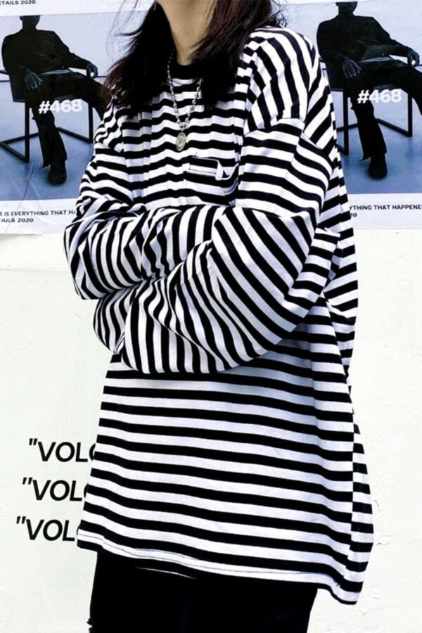 Striped Oversized EGirl Long Sleeve 1- Orezoria Aesthetic Outfits Shop - Aesthetic Clothing - eGirl Outfits - Soft Girl Outfits