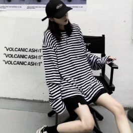 Striped Oversized EGirl Long Sleeve 2- Orezoria Aesthetic Outfits Shop - Aesthetic Clothing - eGirl Outfits - Soft Girl Outfitsм