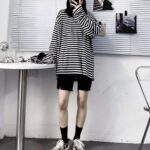 Striped Oversized EGirl Long Sleeve 3- Orezoria Aesthetic Outfits Shop - Aesthetic Clothing - eGirl Outfits - Soft Girl Outfits