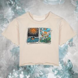 Tarot Cards Starcrossed Lovers Beige Crop Top 1- Orezoria Aesthetic Outfits Shop - eGirl Outfits - Soft Girl Outfits