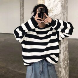 Thick Black and White Stripes EGirl Sweatshirt