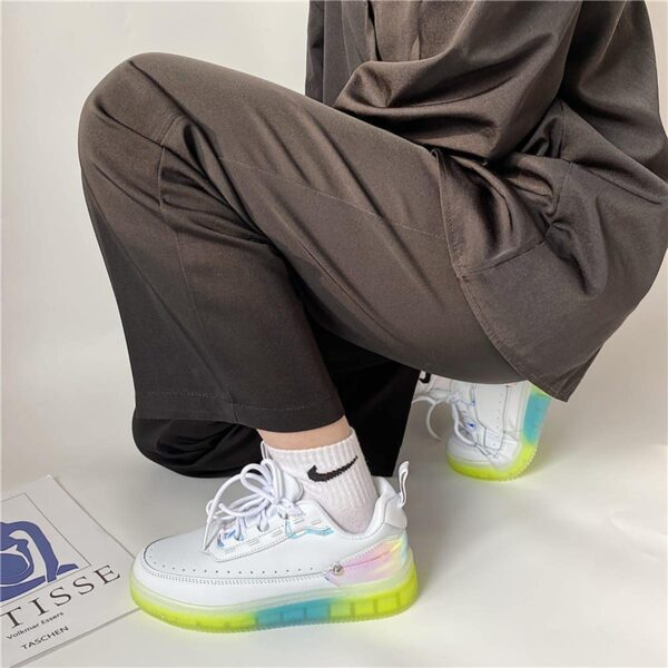 Transparent Gum Base Holographic Heel Retro Sneakers 2- Orezoria Aesthetic Outfits Shop - eGirl Outfits - Soft Girl Outfits