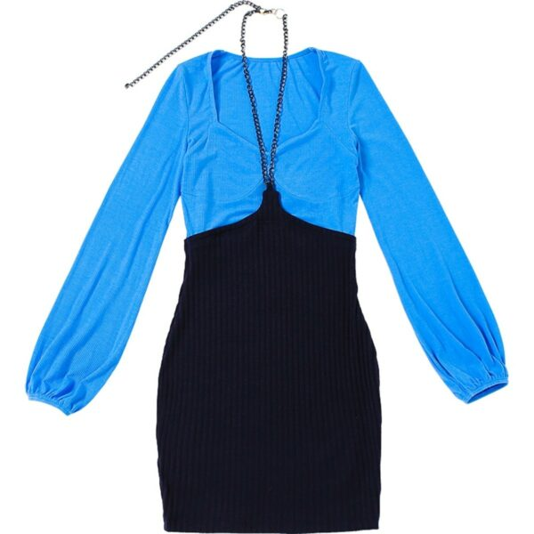 Two Piece Blue Long Sleeve Dress 1- Orezoria Aesthetic Outfits Shop - Aesthetic Clothing - eGirl Outfits - Soft Girl Outfits