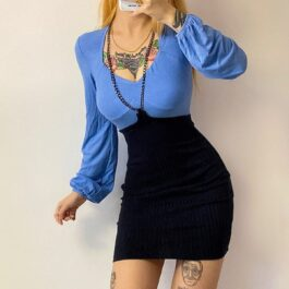 Two Piece Blue Long Sleeve Dress 4- Orezoria Aesthetic Outfits Shop - Aesthetic Clothing - eGirl Outfits - Soft Girl Outfits
