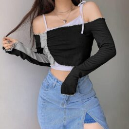 Vertical Lined Gray Block Off Shoulder Crop Top 1- Orezoria Aesthetic Outfits Shop - eGirl Outfits - Soft Girl Outfits