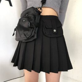 Waist Bag Black Plaid School Skirt Vintage Aesthetic 1- Orezoria Aesthetic Outfits Shop - eGirl Outfits - Soft Girl Outfits