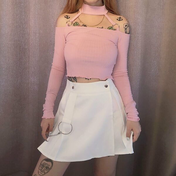 White High Waist EGirl Skirt Chain Ring 1- Orezoria Aesthetic Outfits Shop - Aesthetic Clothing - eGirl Outfits - Soft Girl Outfits