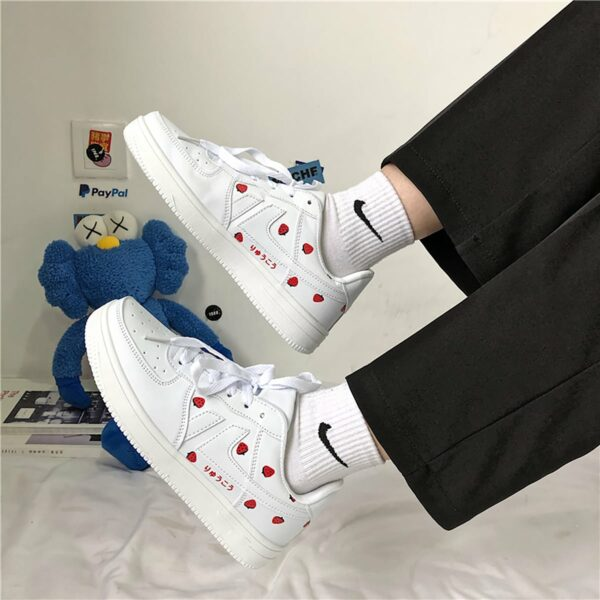 White Strawberry Sneakers Soft Girl Aesthetic 1- Orezoria Aesthetic Outfits Shop - eGirl Outfits - Soft Girl Outfits