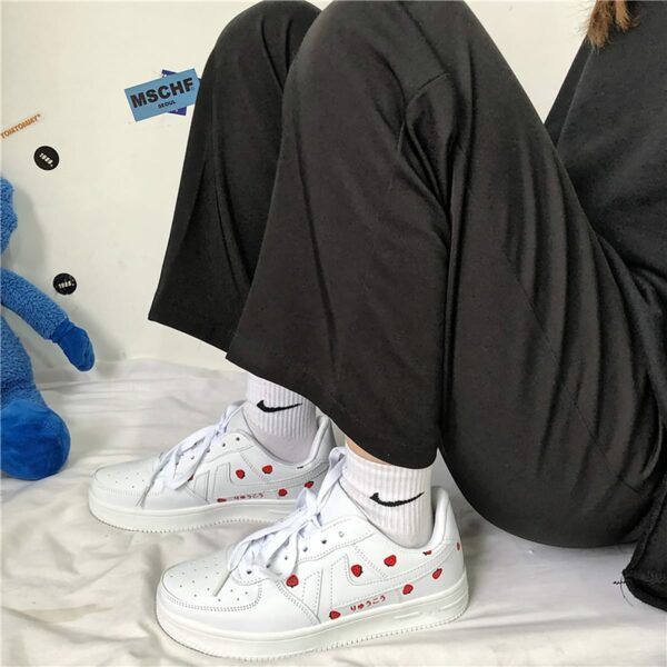 White Strawberry Sneakers Soft Girl Aesthetic 2- Orezoria Aesthetic Outfits Shop - eGirl Outfits - Soft Girl Outfits
