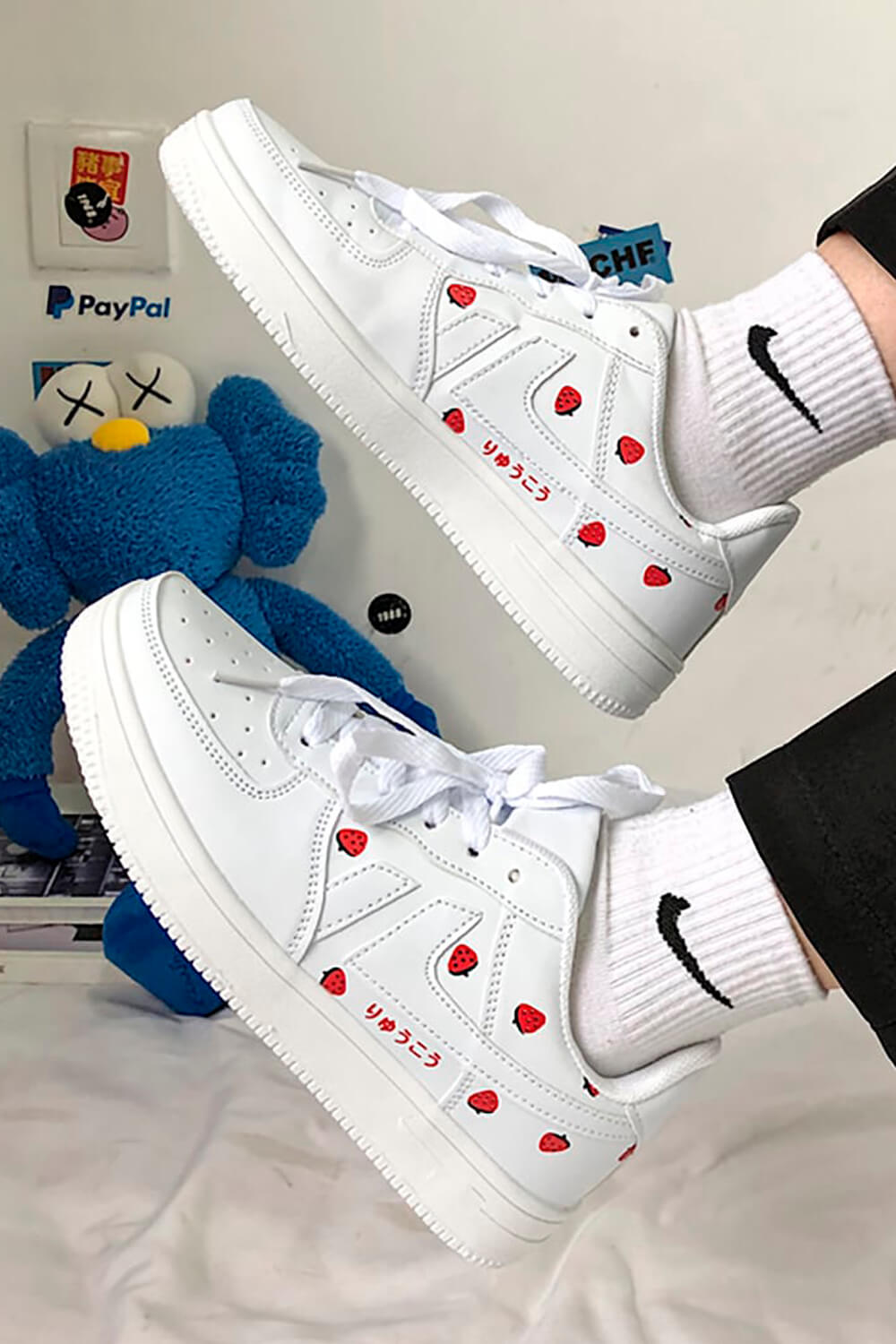 White Strawberry Sneakers Soft Girl Aesthetic