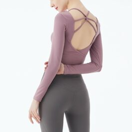 Yoghurt Pink Backless Gym Yoga Top 1- Orezoria Aesthetic Outfits Shop - eGirl Outfits - Soft Girl Outfits