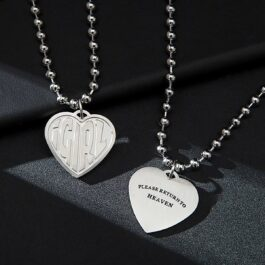 iGirl Heart Pendant Please Return to Heaven Necklace 1- Orezoria Aesthetic Outfits Shop - eGirl Outfits - Soft Girl Outfit