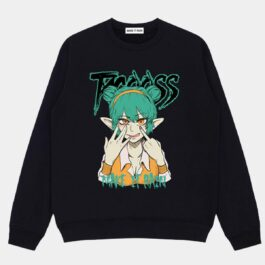 Teasing Elf Anime Girl Loose Sweatshirt - Orezoria Aesthetic Outfits Shop - Aesthetic Clothing - eGirl Outfits - Soft Girl Outfits.psd