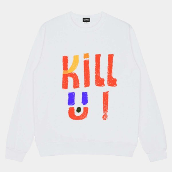 Kill U Child Drawing Loose Sweatshirt - Orezoria Aesthetic Outfits Shop - Aesthetic Clothing - eGirl Outfits - Soft Girl Outfits.psd