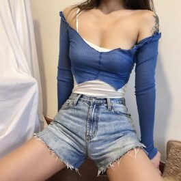 Two Piece One Shoulder Sling Baddie Top - Orezoria Aesthetic Outfits Shop - Aesthetic Clothing - eGirl Outfits - Soft Girl