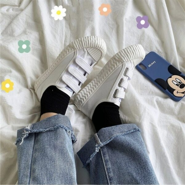 Casual Student-Core Velcro Canvas Shoes.1- Orezoria Aesthetic Outfits Shop - Aesthetic Clothing - eGirl Outfits - Soft Girl Outfits