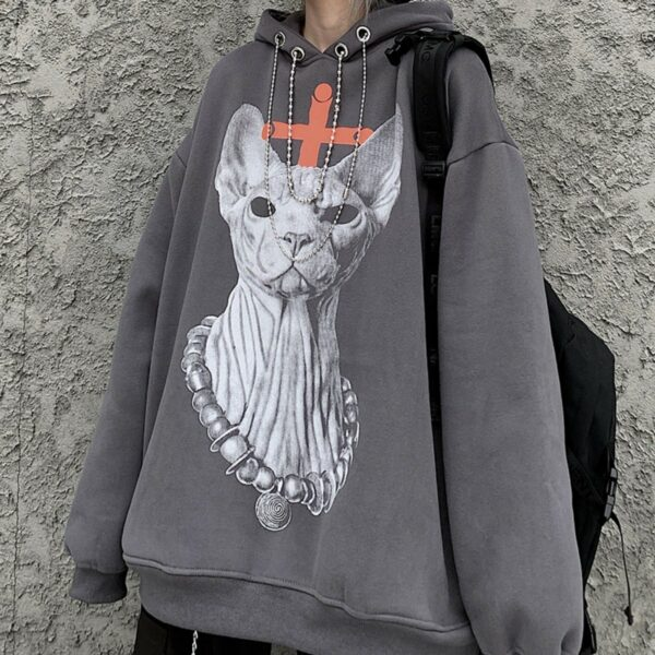 Sphynx Cat Without Eyes Loose Hoodie - Orezoria Aesthetic Outfits Shop - Aesthetic Clothing - eGirl Outfits - Soft Girl Outfits.psd